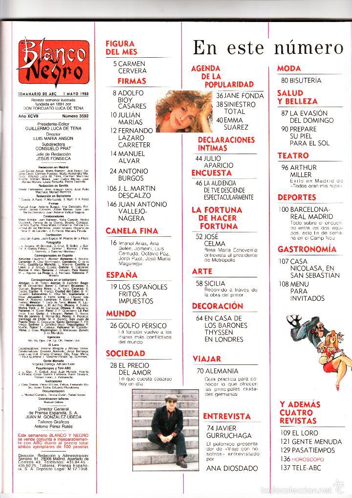 Coleccionismo de Revista Blanco y Negro: BLANCO Y NEGRO 1 DE MAYO DE 1988 - Foto 2 - 57677105