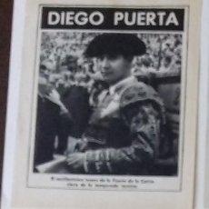 Coleccionismo de Revista Blanco y Negro: TORERO DIEGO PUERTA EN 1961 EN RECORTE (RE43) 1 PÁGINA REVISTA BLANCO Y NEGRO ESE MISMO AÑO. Lote 80738234