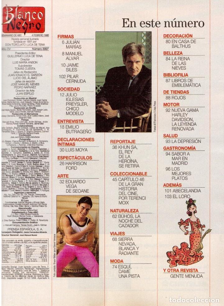 Coleccionismo de Revista Blanco y Negro: 1996. JULIO IGLESIAS PREYSLER.ESPERANZA CAMPUZANO.JUDIT MASCÓ. NUEVA HARLEY DAVIDSON. VER SUMARIO... - Foto 2 - 120107231