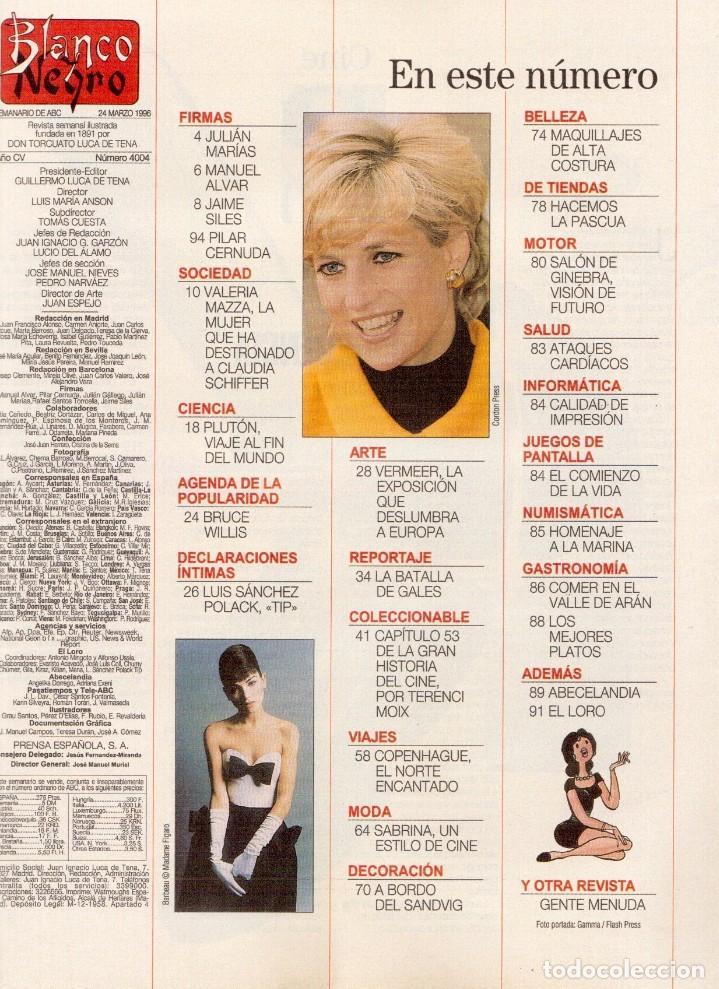 Coleccionismo de Revista Blanco y Negro: 1996. VALERIA MAZZA. LA BATALLA DE GALES - EL DIVORCIO DE CARLOS Y DIANA -. VER SUMARIO... - Foto 2 - 120135391