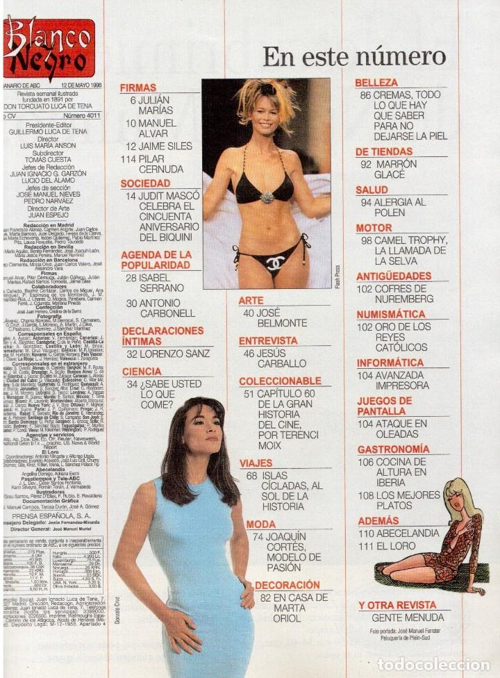 Coleccionismo de Revista Blanco y Negro: 1996. EUGENIA SANTANA. ELSA ANKA. YVONNE REYES. ISABEL SERRANO. JOAQUÍN CORTÉS. SUMARIO... - Foto 2 - 120178615