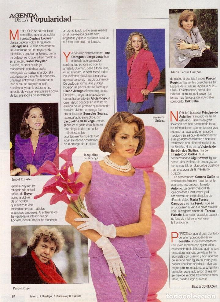 Coleccionismo de Revista Blanco y Negro: 1996. PONCE VS JOSELITO. INÉS SASTRE. AZÚCAR MORENO. EMMANUELLE BEART. VER SUMARIO... - Foto 3 - 120202647