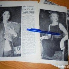 Coleccionismo de Revista Blanco y Negro: RECORTE PRENSA : DECLARACIONES INTIMAS: MARILYN MONROE, AUDREY HEPBURN. BLANCO Y NEGRO, FEBRERO 1958. Lote 121965035