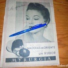 Coleccionismo de Revista Blanco y Negro: PUBLICIDAD , POLVOS MADERAS DE ORIENTE, DE MYRURGIA. GARBO, ABRIL 1955. Lote 121970147