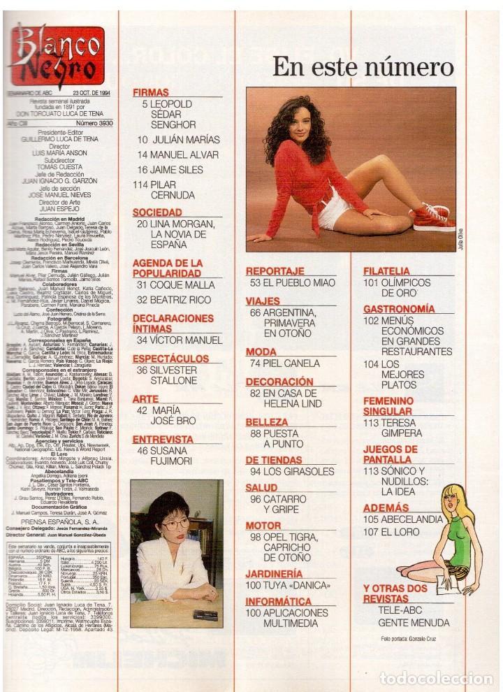 Coleccionismo de Revista Blanco y Negro: 1994. ANNA GALIENA.COQUE MALLA.BEATRIZ RICO.SYLVESTER STALLONE.SUSANA FUJIMORI. VER SUMARIO. - Foto 2 - 123073631
