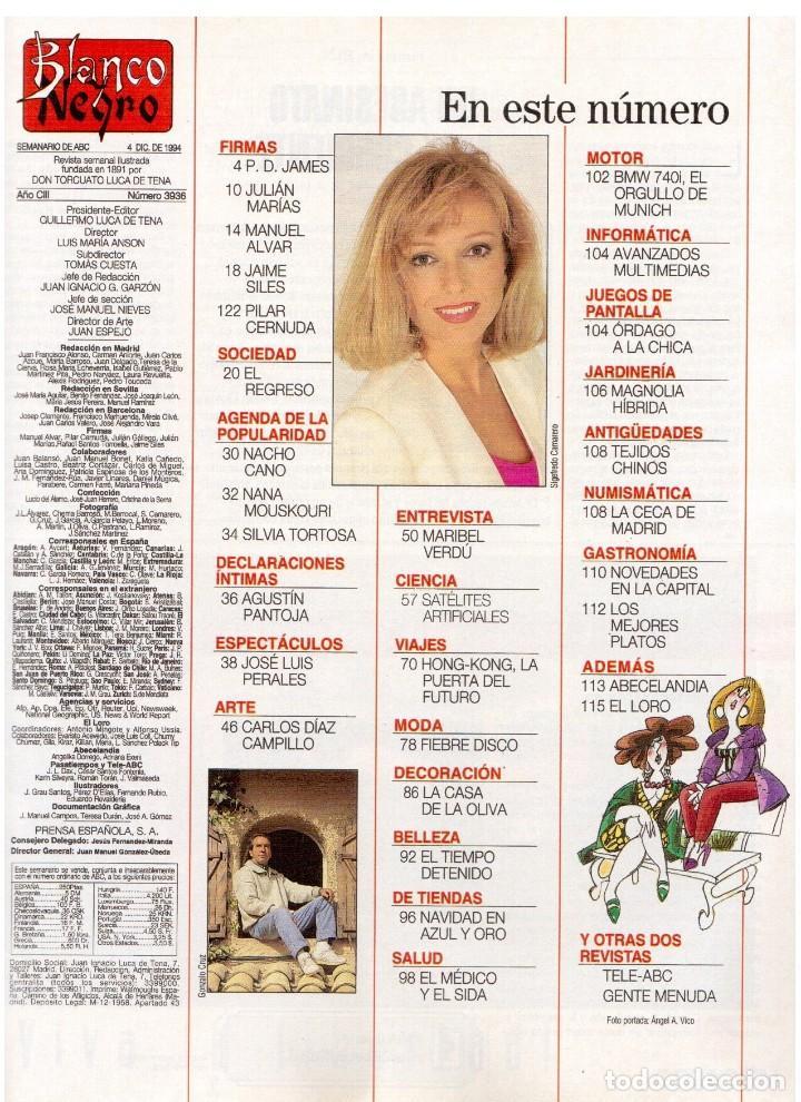Coleccionismo de Revista Blanco y Negro: 1994. maribel verdú. nacho cano de mecano.nana mouskouri. silvia tortosa. - Foto 2 - 123078935
