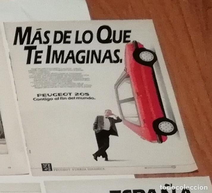 ANUNCIO PEUGEOT 205 DE 1988 EN RECORTE (R3865) 1 PÁGINA DE REVISTA VIAJAR DE ESE AÑO (Coleccionismo - Revistas y Periódicos Modernos (a partir de 1.940) - Blanco y Negro)