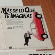 Coleccionismo de Revista Blanco y Negro: ANUNCIO PEUGEOT 205 DE 1988 EN RECORTE (R3865) 1 PÁGINA DE REVISTA VIAJAR DE ESE AÑO. Lote 125607819
