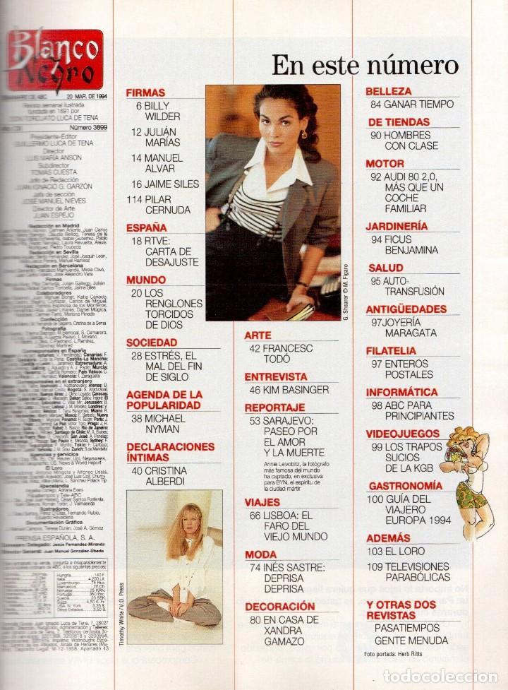 Coleccionismo de Revista Blanco y Negro: 1994. INSTINTO BASINGER. INÉS SASTRE. ARIADNA GIL. AITANA SÁNCHEZ GIJÓN. VER SUMARIO ... - Foto 2 - 125885747