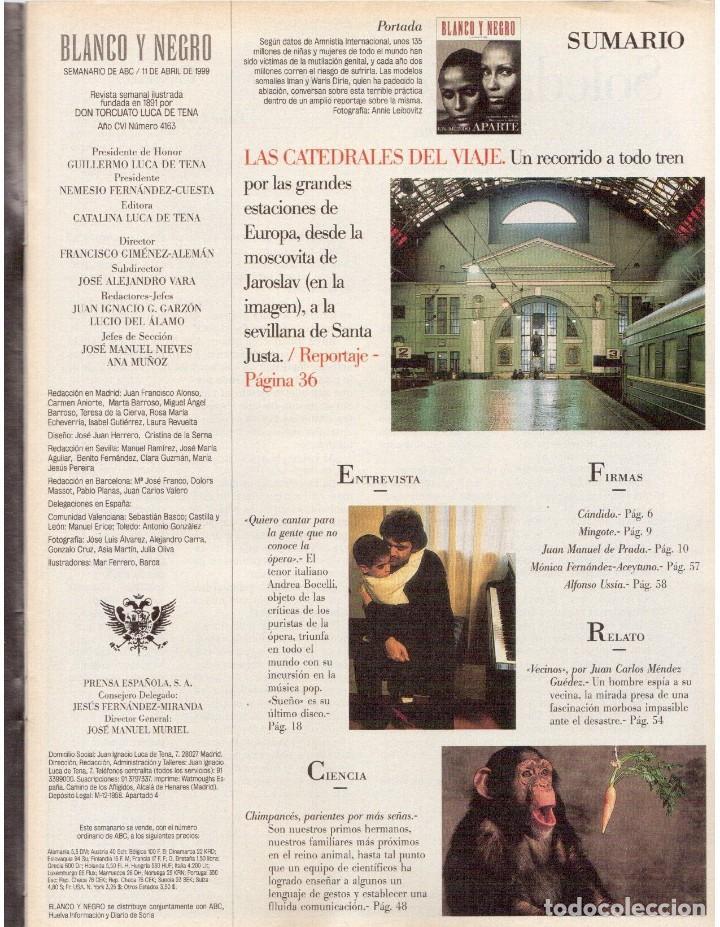 Coleccionismo de Revista Blanco y Negro: 1999. IMAN Y WALLIS DIRIE, CONTRA LA ABLACIÓN. SOLEDAD LORENZO. ANDREA BOCELLI. VER SUMARIO. - Foto 2 - 133905178
