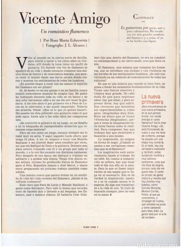 Coleccionismo de Revista Blanco y Negro: 1999. VICENTE AMIGO. PEREJAUME. NURIA ROCA. ESTEFANÍA LUIK. VER SUMARIO. - Foto 3 - 134181398