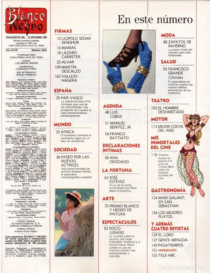 Coleccionismo de Revista Blanco y Negro: 1988. ROCIO JURADO. INÉS SASTRE. ALEJANDRA GREPI. EMMA SUÁREZ. LYDIA BOSCH. VER SUMARIO. - Foto 2 - 134360978