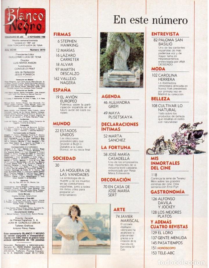 Coleccionismo de Revista Blanco y Negro: 1988. PALOMA SAN BASILIO. ALEJANDRA GREPI. MARTA SÁNCHEZ. MAYA PLISETSKAYA. JAVIER MARISCAL. VER. - Foto 2 - 134370418