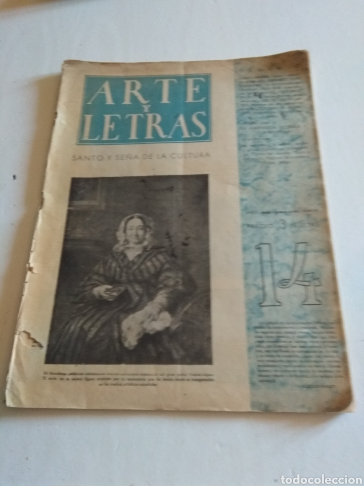 REVISTA ARTE Y LETRAS AÑO 2 N.14 5 DE FEBRERO DE 1944 (Coleccionismo - Revistas y Periódicos Modernos (a partir de 1.940) - Blanco y Negro)