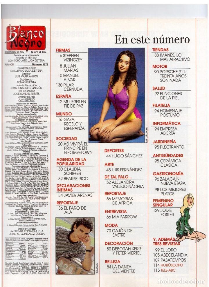 Coleccionismo de Revista Blanco y Negro: 1993. ANA GARCÍA OBREGÓN. BEATRIZ SANTANA. BEATRIZ RICO. MIA FARROW. LA DANZA DEL VIENTRE. VER. - Foto 2 - 141439826