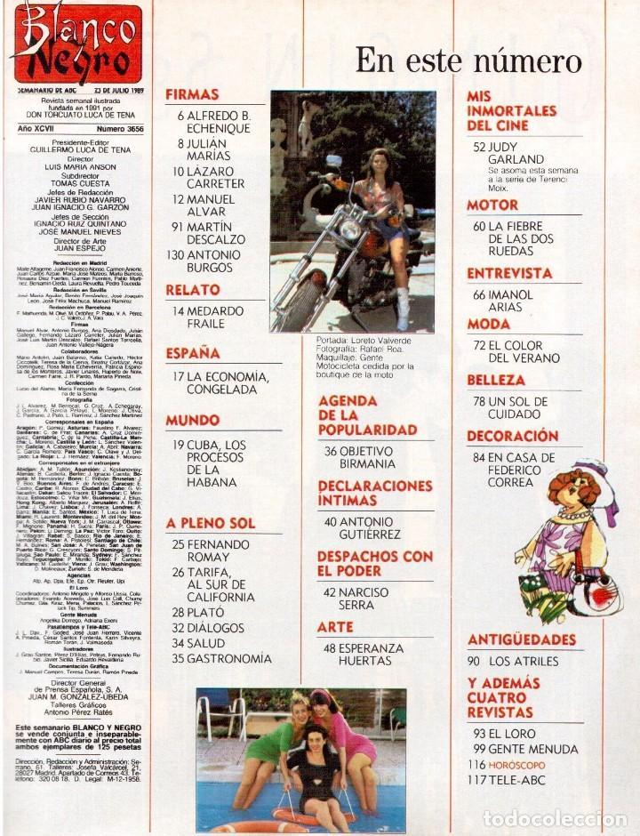 Coleccionismo de Revista Blanco y Negro: 1989. LORETO VALVERDE. BEATRIZ SANTANA. OBJETIVO BIRMANIA. ANA OBREGÓN. MIGUEL BOSÉ. LYDIA BOSCH. - Foto 2 - 141565706