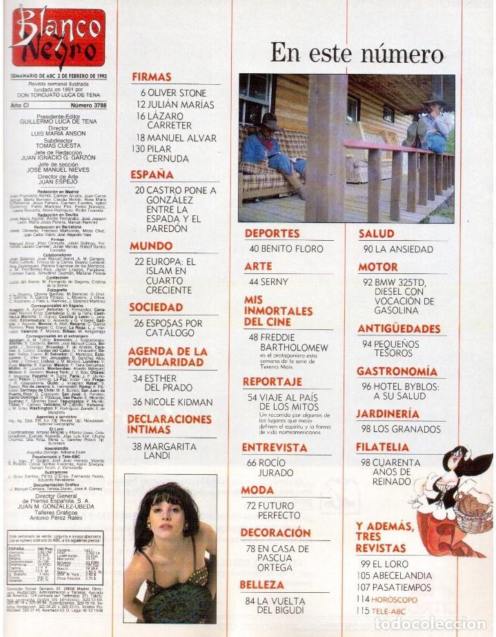 Coleccionismo de Revista Blanco y Negro: 1992. ROCÍO JURADO. LAURA DERN. ESTHER DEL PRADO. BENITO FLORO. CONCHA VELASCO. VER SUMARIO. - Foto 2 - 143424054