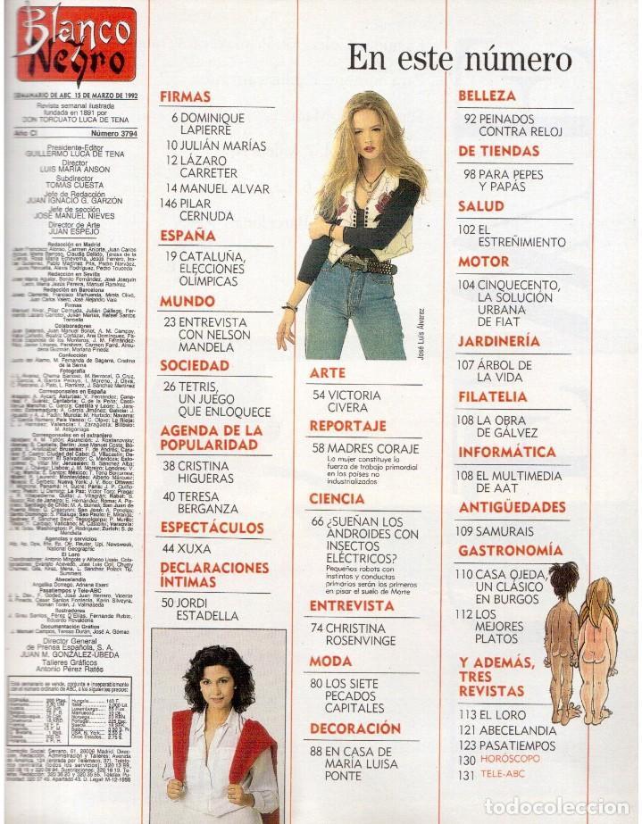 Coleccionismo de Revista Blanco y Negro: 1992. XUXA. ANGELA MOLINA. CRISTINA HIGUERAS. CRISTINA ROSENVINGE. SARA MONTIEL. VER SUMARIO. - Foto 2 - 191149530