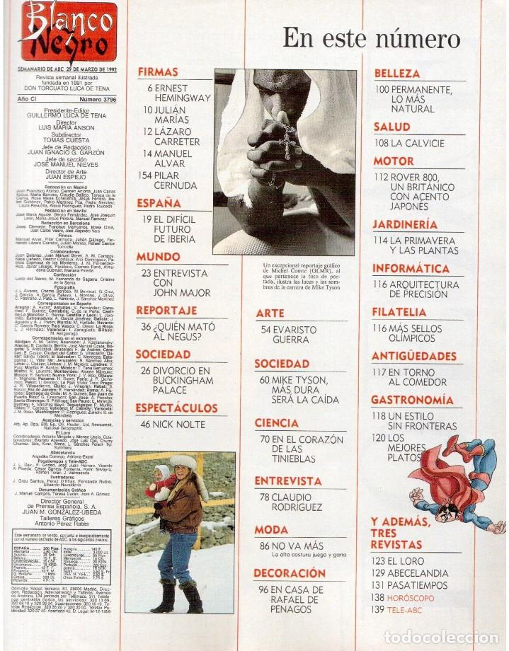Coleccionismo de Revista Blanco y Negro: 1992. MIKE TYSON. LADY SARAH. MIRIAM REYES. MARTA SÁNCHEZ. CLAUDIO RÓDRIGUEZ. VER SUMARIO. - Foto 2 - 143701838