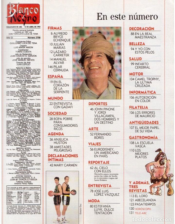 Coleccionismo de Revista Blanco y Negro: 1992. IMÁN. ESTEFANÍA LUIK. ANJELICA HUSTON. JOHN PINONE Y JORDI VILLACAMPA. CAMEL TROPHY. CANNELLE - Foto 2 - 143872934