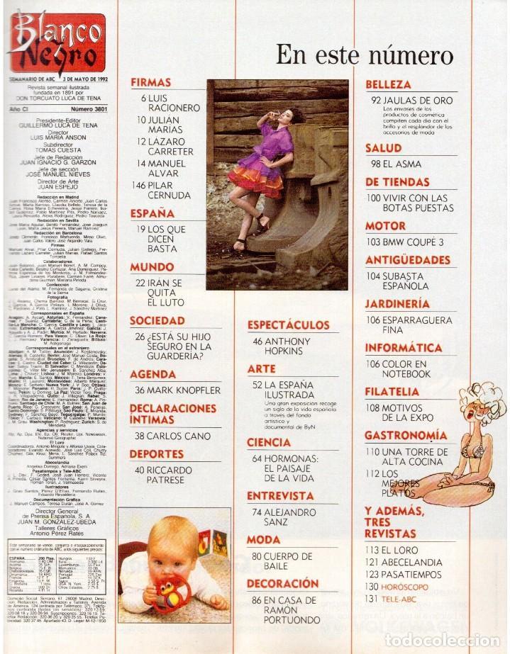 Coleccionismo de Revista Blanco y Negro: 1992. ALEJANDRO SANZ. mecano. coque malla. canelle. MARK KNOPFLER. RICCARDO PATRESE. ISABEL PANTOJA. - Foto 2 - 143879394