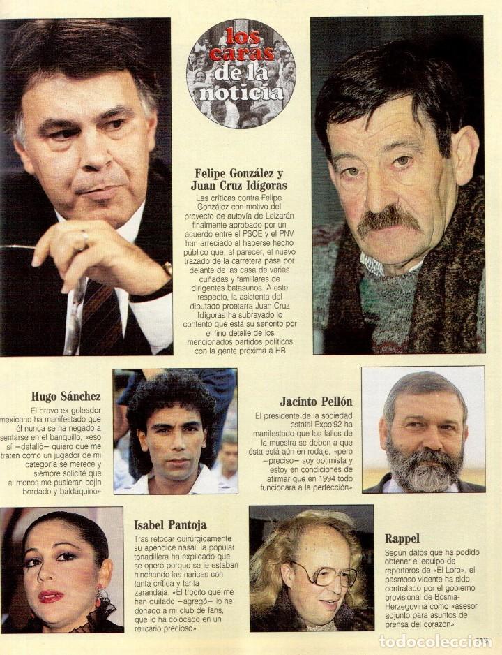 Coleccionismo de Revista Blanco y Negro: 1992. ALEJANDRO SANZ. mecano. coque malla. canelle. MARK KNOPFLER. RICCARDO PATRESE. ISABEL PANTOJA. - Foto 13 - 143879394