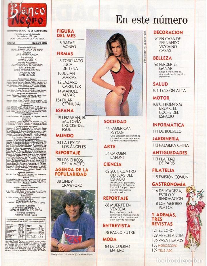 Coleccionismo de Revista Blanco y Negro: 1992. RAFAEL MONEO. JUAN MANUEL SERRAT. CINDY CRAWFORD. AMERICAN PSYCHO. MARTA SÁNCHEZ. GILDA. VER - Foto 2 - 143881842