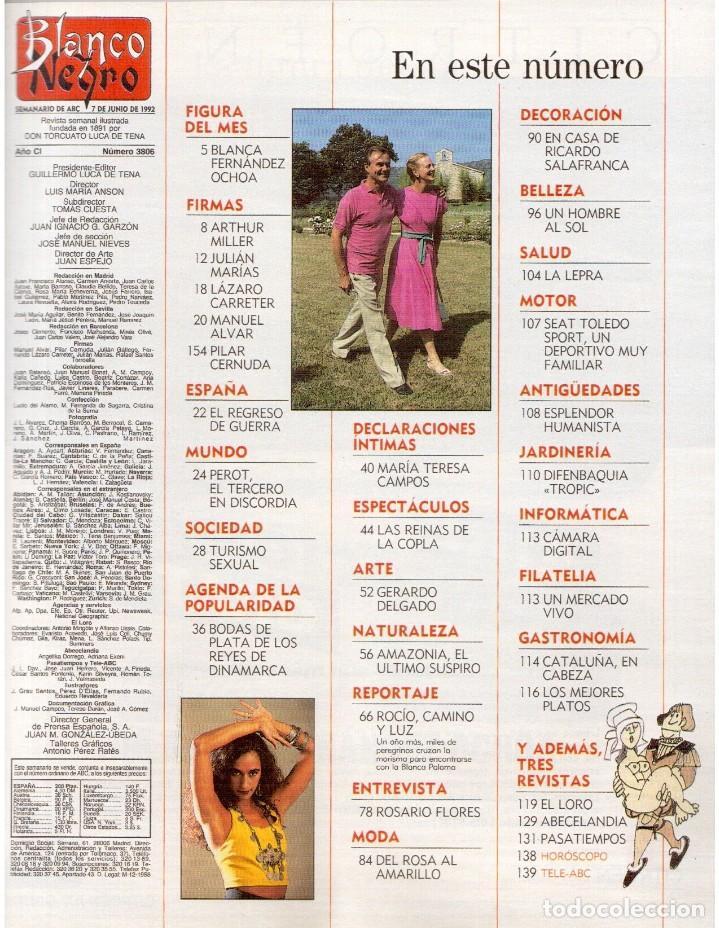 Coleccionismo de Revista Blanco y Negro: 1992. ISABEL PANTOJA. INÉS SASTRE. ROCÍO JURADO. ROSARIO FLORES. MARIELA ALCALÁ. VER SUMARIO. - Foto 2 - 143897094