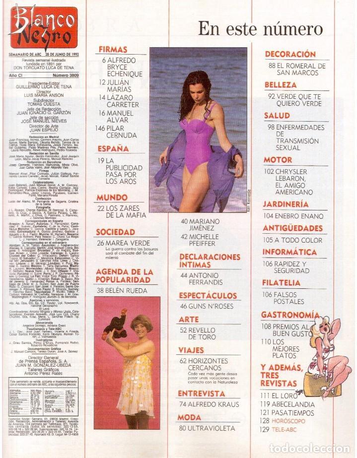 Coleccionismo de Revista Blanco y Negro: 1992. GUNS NROSES. MARTA SÁNCHEZ. JUDIT MASCÓ. BELÉN RUEDA. LYDIA BOSCH. VER SUMARIO. - Foto 2 - 143970430