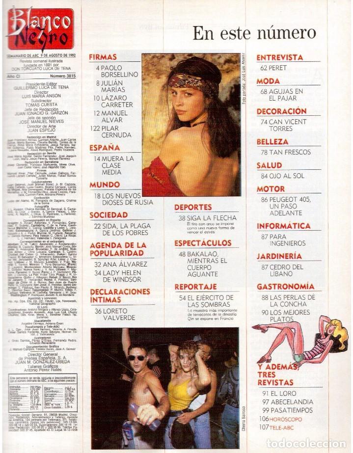 Coleccionismo de Revista Blanco y Negro: 1992. LOLA DE PÁRAMO. ANA ALVAREZ. LADY HELEN WINDSOR. BAKALAO. PERET. MARIBEL VERDÚ. VER SUMARIO. - Foto 2 - 144303270