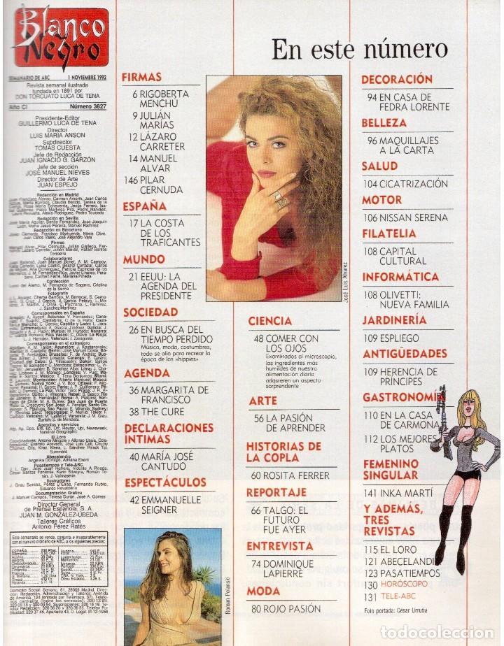 Coleccionismo de Revista Blanco y Negro: 1992. CRISTINA PIAGET. JUDIT MASCÓ. BRACK CROWES. ALASKA. THE CURE. TALGO. MADONNA. VER SUMARIO. - Foto 2 - 144325826