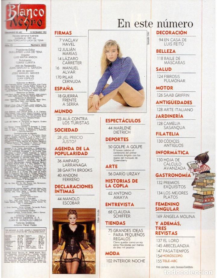 Coleccionismo de Revista Blanco y Negro: 1992. CLAUDIA SCHIFFER. MIGUEL BOSÉ. IMÁN. ISABEL PANTOJA. MARLENE DIETRICH. ANTONIO AMAYA. VER - Foto 2 - 144466310