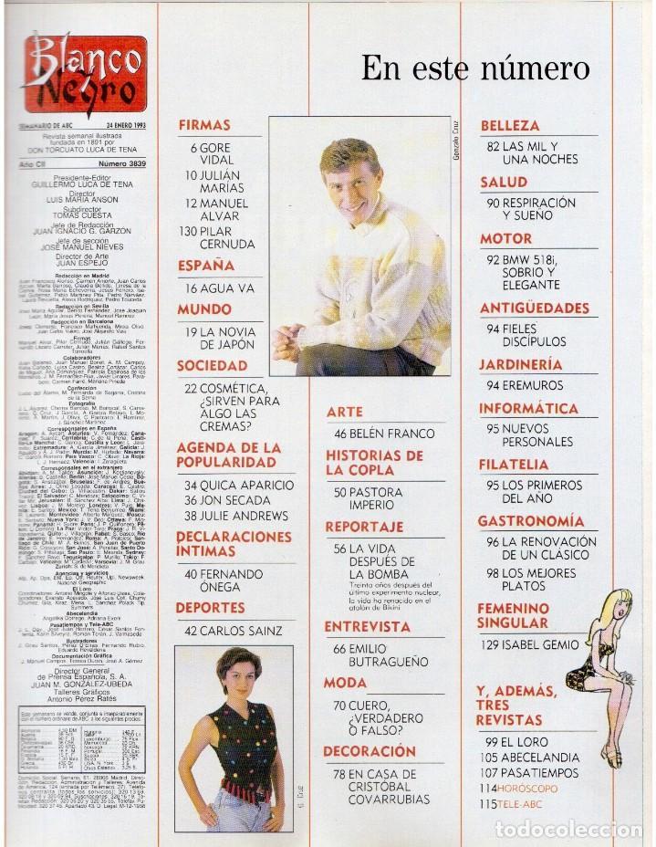 Coleccionismo de Revista Blanco y Negro: 1993. PALOMA SAN BASILIO. NATALIA ESTRADA. QUICA APARICIO. CARLOS SAINZ. ASSUMPTA SERNA. VER - Foto 2 - 144768722
