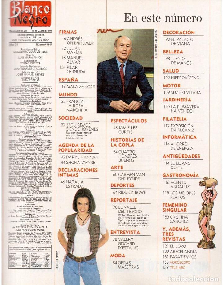 Coleccionismo de Revista Blanco y Negro: 1993. LYDIA BOSCH. DARYL HANNAH. SHONA DWYRE. JAMIE LEE CURTIS. LUZ DE LUNA. CRISTINA SÁNCHEZ. VER - Foto 2 - 144781774