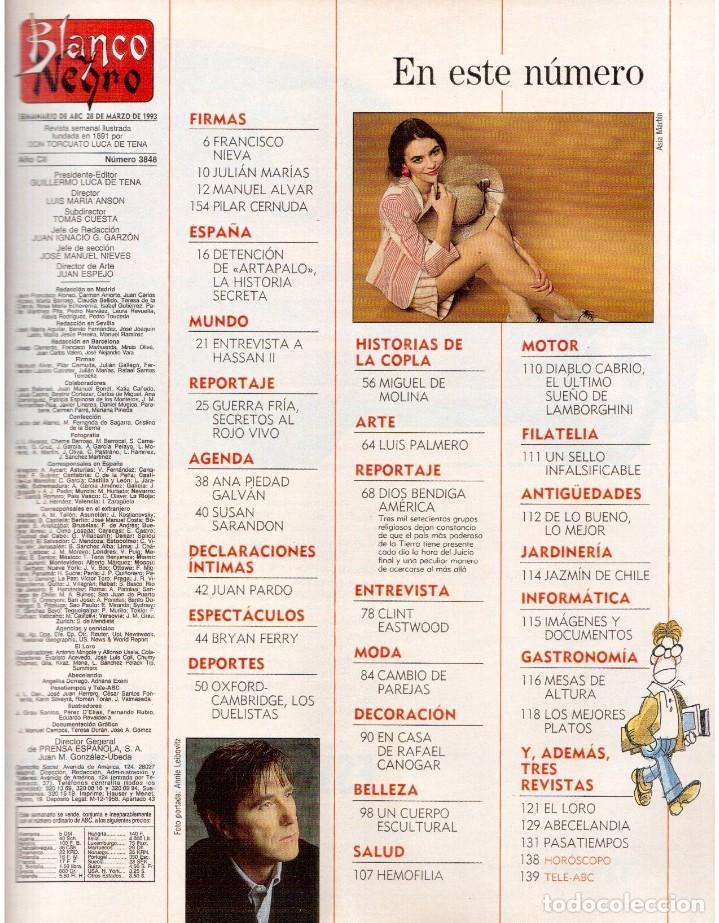 Coleccionismo de Revista Blanco y Negro: 1993. CLINT EASTWOOD. YVONNE REYES. ANA PIEDAD GALVÁN. BRYAN FERRY (ROXY MUSIC). VER SUMARIO - Foto 2 - 144784154