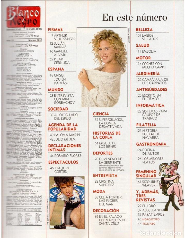 Coleccionismo de Revista Blanco y Negro: 1993. PEDRO DELGADO. LYDIA BOSCH. HEROES DEL SILENCIO. PALOMA MARÍN. JULIO MEDEM. JOAQUÍN CORTÉS. - Foto 2 - 144791526