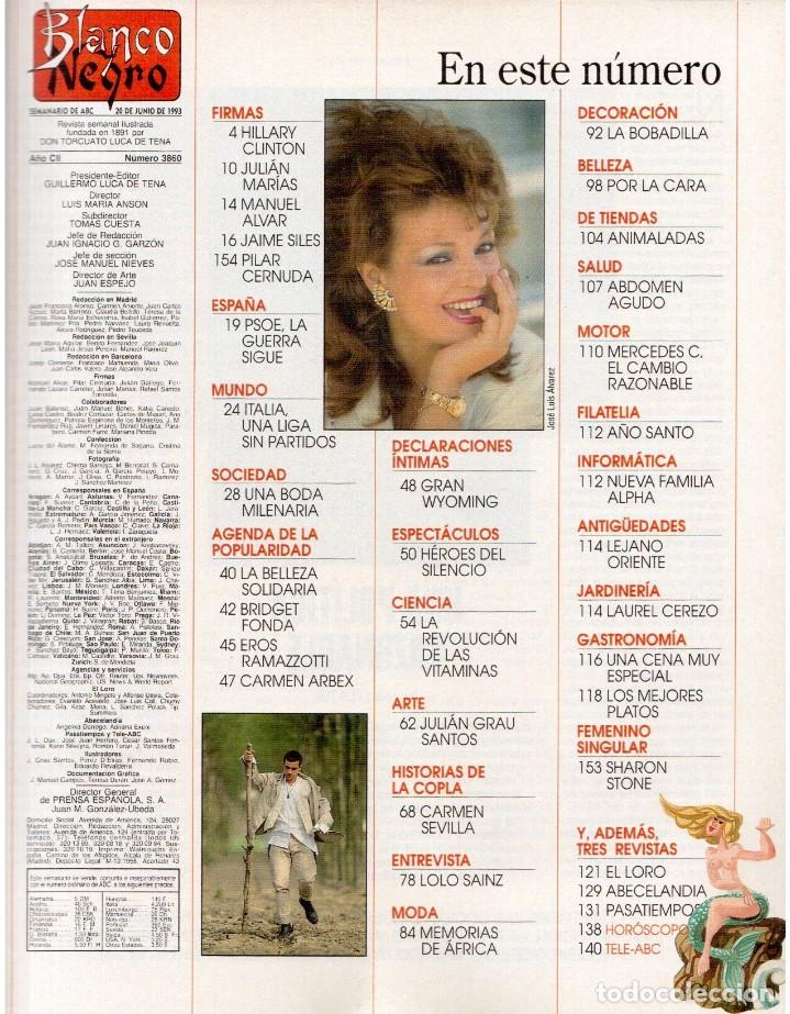 Coleccionismo de Revista Blanco y Negro: 1993. MARTA SÁNCHEZ. LA BELLEZA SOLIDARIA. CARMEN ARBEX. GRAN WYOMING. HEROES DEL SILENCIO. - Foto 2 - 144804054