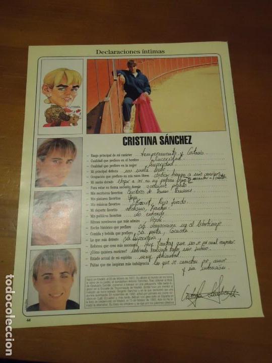Coleccionismo de Revista Blanco y Negro: Recorte reportaje revista Blanco y negro año 1994 Cristina Sanchez torera - Foto 2 - 160919266