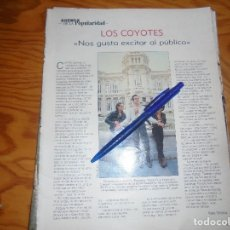 Coleccionismo de Revista Blanco y Negro: RECORTE : ENTREVISTA AL GRUPO : LOS COYOTES. BLANC Y NEGR, DCMBRE 1988 (). Lote 182779760