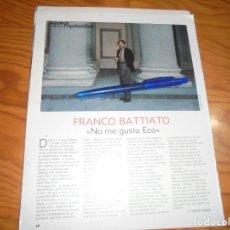 Coleccionismo de Revista Blanco y Negro: RECORTE : ENTREVISTA : FRANCO BATTIATO. BLANC Y NEGR, NVMBRE 1988 (). Lote 182784838