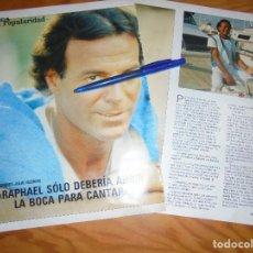 Coleccionismo de Revista Blanco y Negro: RECORTE : ENTREVISTA : JULIO IGLESIAS RESPONDE A RAPHAEL . BLANC Y NEGR, 20 MARZO 1988 (). Lote 183499753