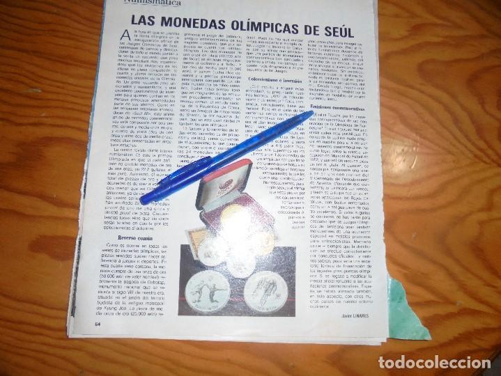RECORTE : NUMISMATICA : LAS MONEDAS OLIMPICAS DE SEUL. BLANC Y NEGR, 2 OCTUBRE 1988 () (Coleccionismo - Revistas y Periódicos Modernos (a partir de 1.940) - Blanco y Negro)
