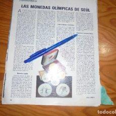 Coleccionismo de Revista Blanco y Negro: RECORTE : NUMISMATICA : LAS MONEDAS OLIMPICAS DE SEUL. BLANC Y NEGR, 2 OCTUBRE 1988 (). Lote 183775171