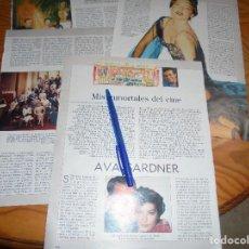 Coleccionismo de Revista Blanco y Negro: RECORTE : MIS INMORTALES DEL CINE : AVA GARDNER. TERENCI MOIX. BLANC Y NEGR, 2 OCTUBRE 1988 (). Lote 183775347