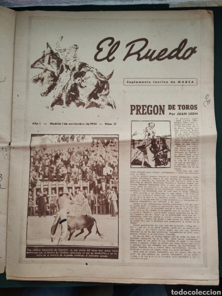 PERIÓDICO TAURINO EL RUEDO AÑO 1944, N°.21. (Coleccionismo - Revistas y Periódicos Modernos (a partir de 1.940) - Blanco y Negro)