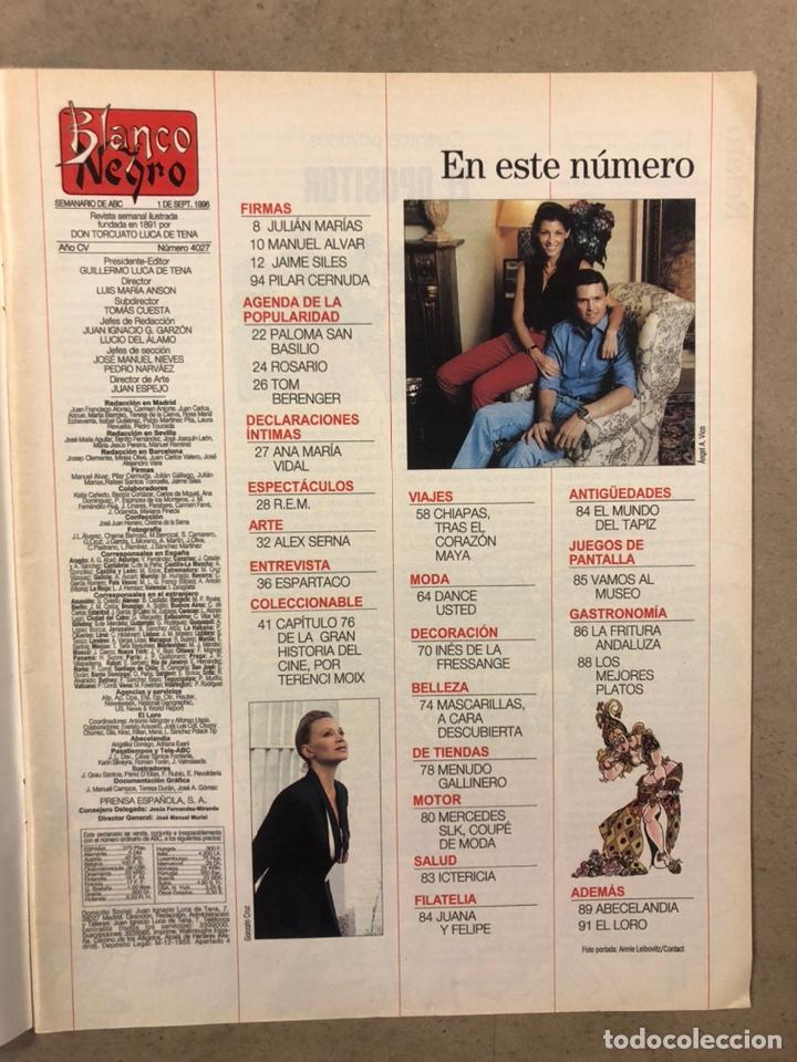 Coleccionismo de Revista Blanco y Negro: BLANCO Y NEGRO N° 4027 (1996). DEMI MOORE, ESPARTACO, PALOMA SAN BASILIO, ROSARIO, REM, ÀLEX SERNA, - Foto 2 - 255578080