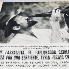 Coleccionismo de Revista Blanco y Negro: LUIS DE LASSALETTA EXPLORADOR CATALAN MUERTO EN GUINEA POR UNA SERPIENTE AÑO 1958 3 HOJAS. Lote 262200470