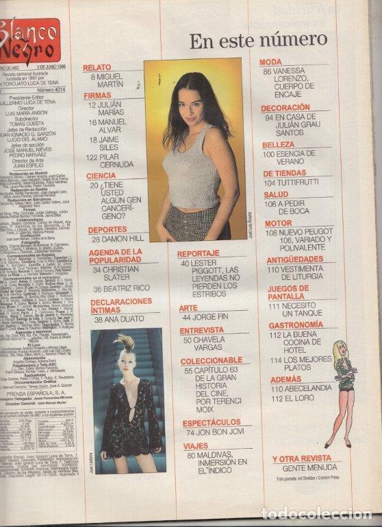 Coleccionismo de Revista Blanco y Negro: REVISTA BLANCO Y NEGRO Nº 4014 AÑO 1996. JON BON JOVI. DAMON HILL. CHAVELA VARGAS. JORGE FIN. - Foto 2 - 277139453