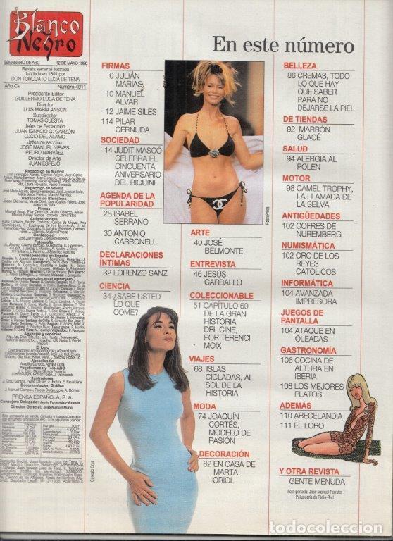 Coleccionismo de Revista Blanco y Negro: REVISTA BLANCO Y NEGRO Nº 4011 AÑO 1996. JUDIT MASCÓ. JESÚS CARBALLO. JOSÉ BELMONTE. - Foto 2 - 277140538