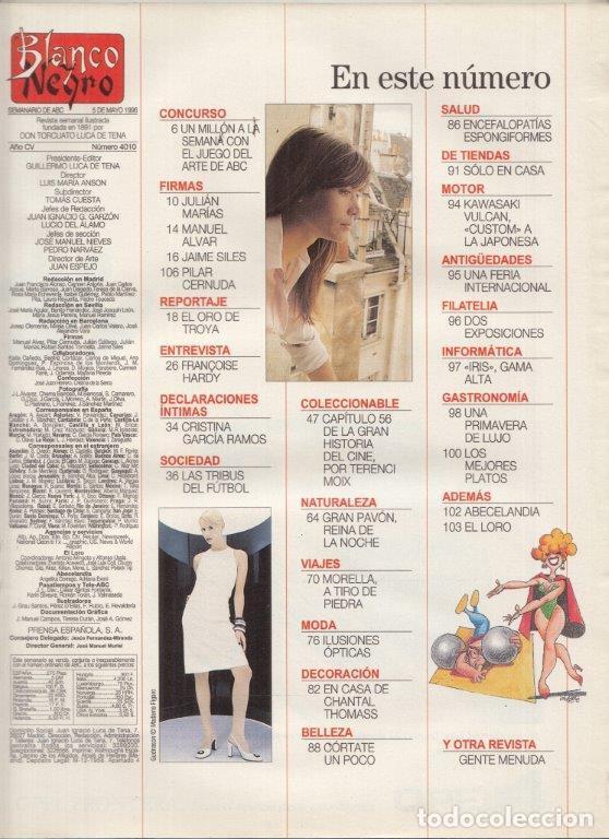 Coleccionismo de Revista Blanco y Negro: REVISTA BLANCO Y NEGRO Nº 4010 AÑO 1996. FRANCOISE HARDY. LAS TRIBUS DEL FÚTBOL. - Foto 2 - 277140923